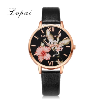 Bracelet Watch Rose Gold Flowers Leather Simple Women Watch