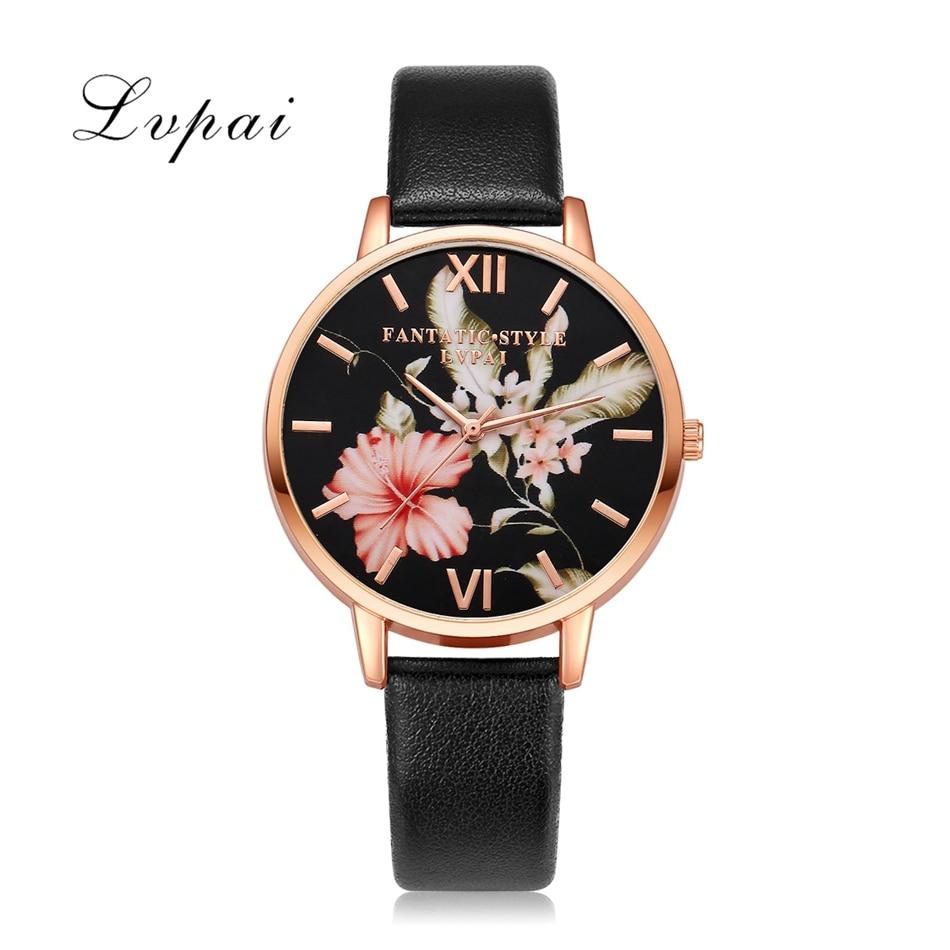 Lvpai Brand Women Bracelet Watch Fashion Rose Gold Flowers Leather Simple Women Dress Watches Luxury Business Gift Clock Watch brand fashion luxury watch women business