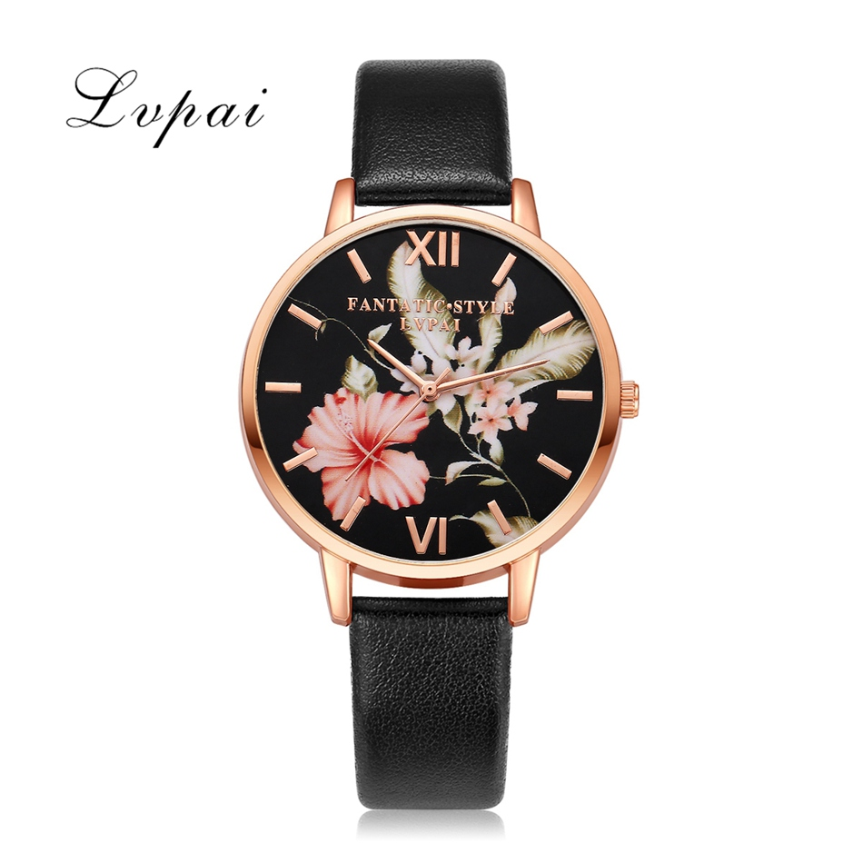 Women Bracelet Watch Lvpai Brand Rose Gold Flowers Leather Concise Women Dress Watches Top Brand Luxury Christmas Gift Clock