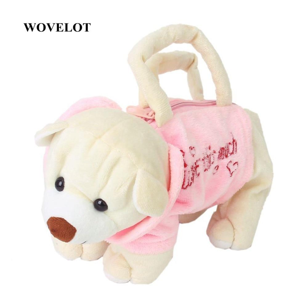 Aranyos medve-alakú plüss zsák táska pénztárca gyerekeknek - rózsaszín és bézs