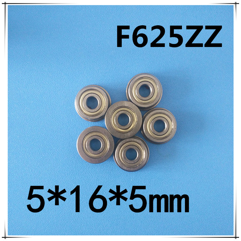 F625-2Z F625ZZ F625zz F625 zz Flanged Flange Deep Groove Ball Bearings 5 x 16 x 5mm Free shipping for 3D printer free shipping 10 pcs mf74zz flanged bearings 4x7x2 5 mm flange ball bearings lf 740zz