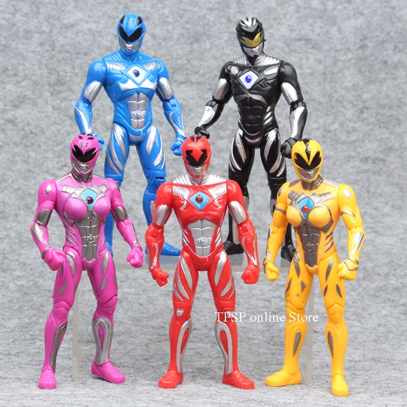 5 pieces/set Power Rangers characters handmade model Childrens gift Joints can be moving doll toys