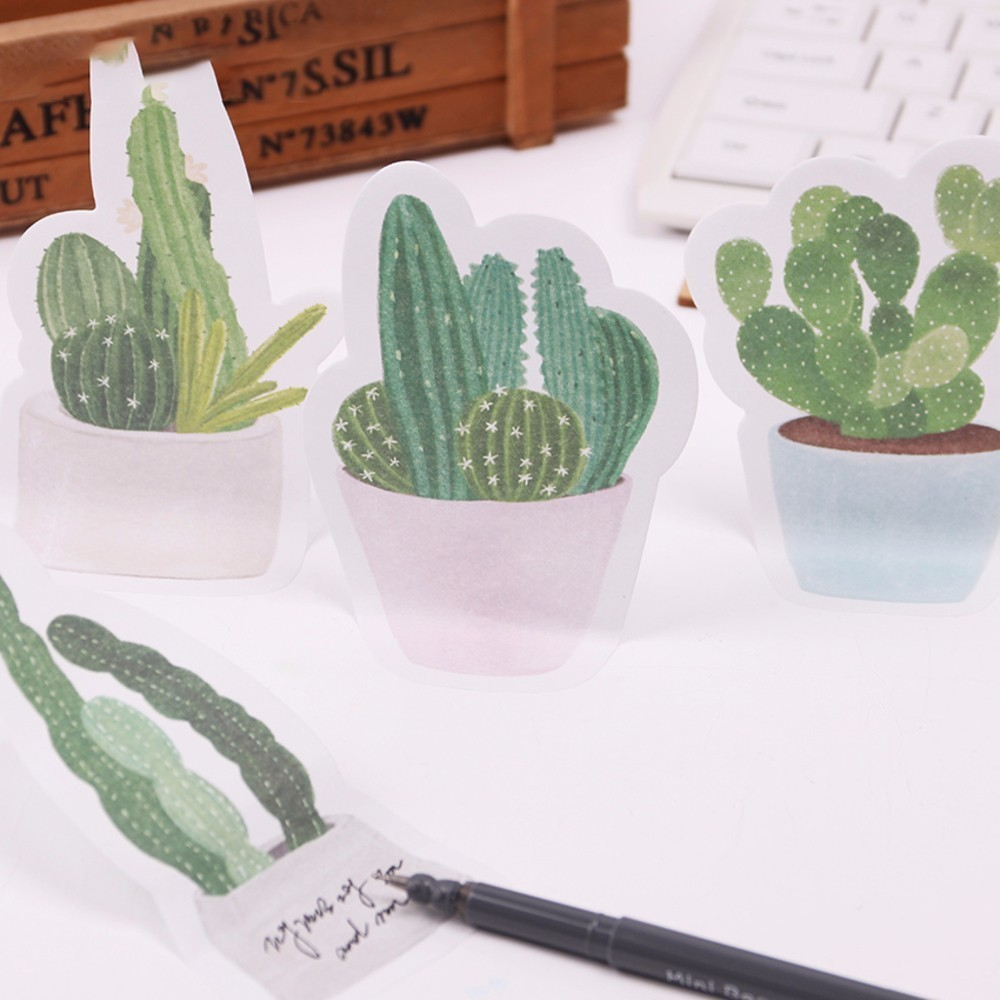 BP 2PCS/lot Cactus Love Cute Sticky Notes Kawaii Sticky Memo Pad Creative Post Memo Pads Sticker Label Stationery Gift WJ-SMT103 2pcs creative students stationery post it note with writing pad clip cartoon cute n times posted message notes