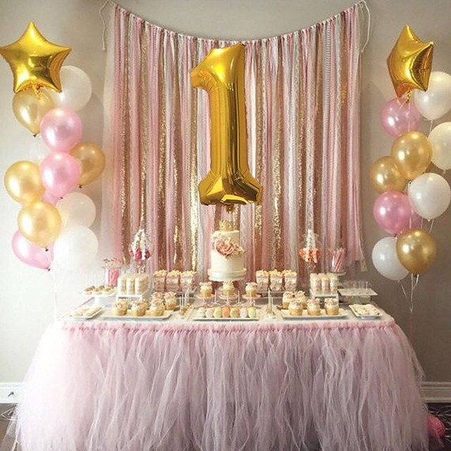 1st Birthday Baby Girl Boy Balloons Decoration 40 Number 1 Mylar Balloon18 Gold Pink