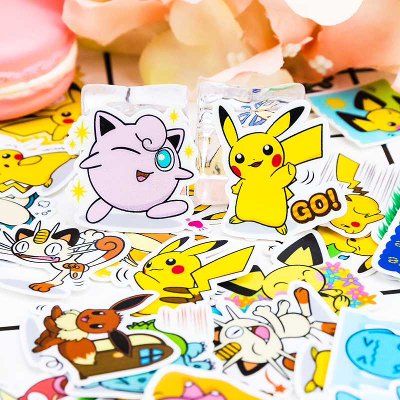 42pcs Creative Cute Self-made Pikachu  Scrapbooking Childbaby Cartoon Fairy Paper Stickers / Waterproof  Stationery Diy Stickers