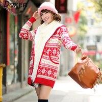 Autumn Winter Cardigan Wool Liner Sweater Women Jumper Long Sleeve Hooded Zipper Knitted Sweaters Female Christmas Warm Sweater