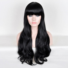 26 inch Flat Bang long curly black hair Long silk fluffy wig into high temperature popular animation wig in Europe and the Korea