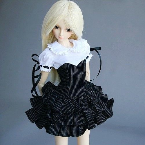wamami 244 Black Stripe White Collar Dress Suit 1 3 SD DZ DOD BJD Doll