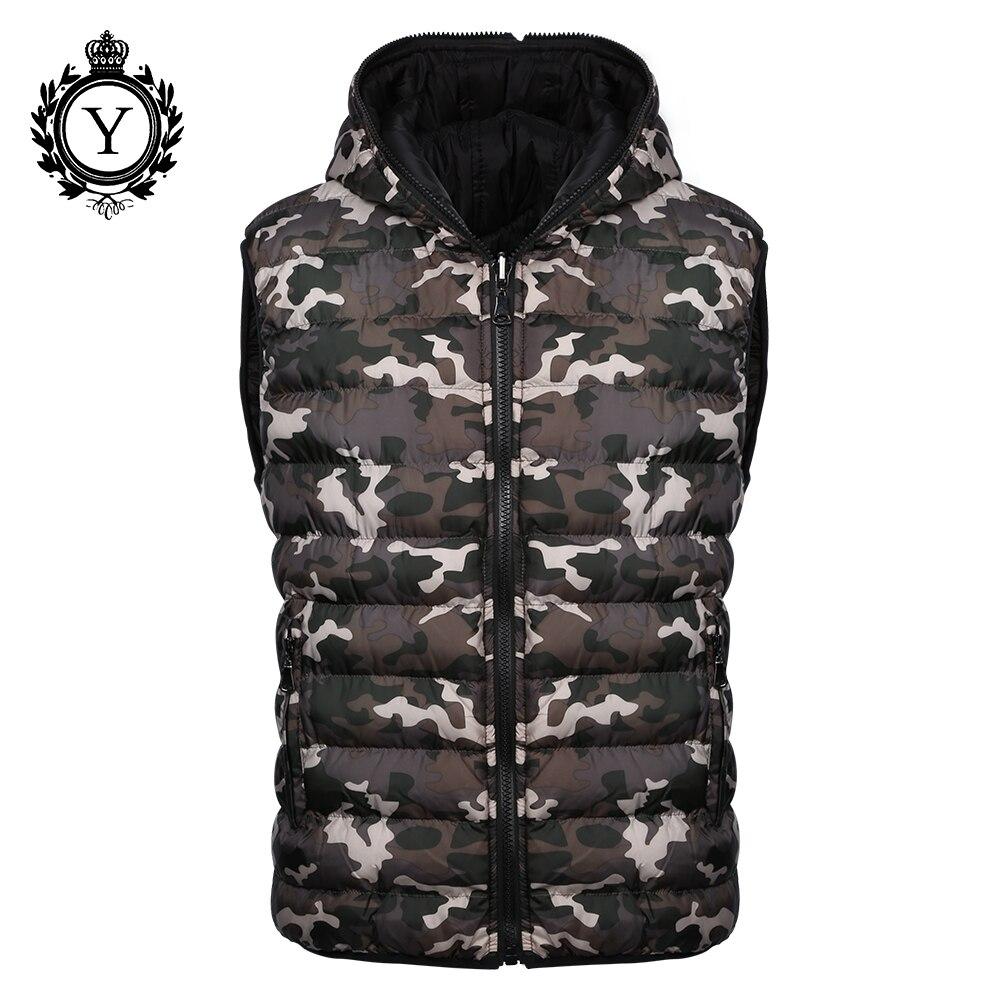 COUTUDI 2018 Новый Для мужчин жилет камуфляж зима хлопок Куртки без рукавов обратимые стильный жакет жилет теплый Водонепроницаемый вниз пальто
