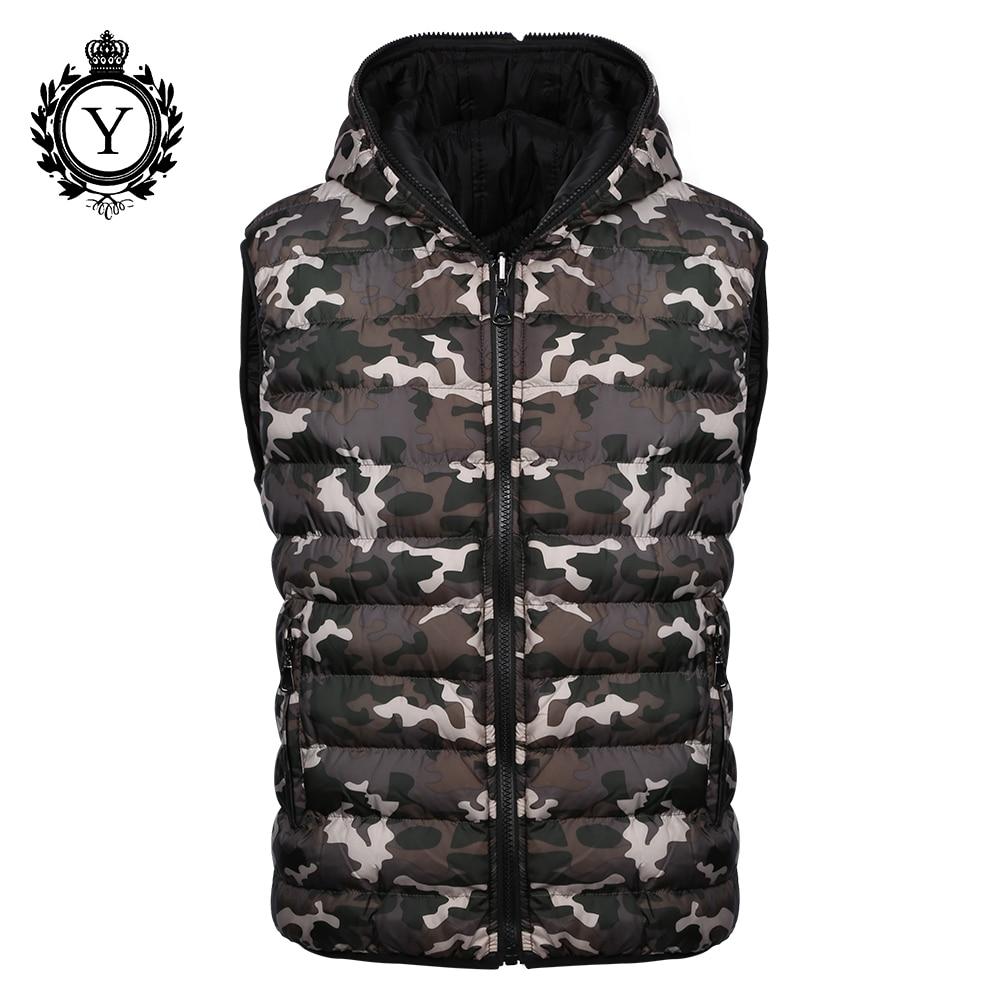 COUTUDI 2018 New Men's Vest Camouflage Winter Cotton Sleeveless Jackets Reversible Stylish Jacket Vest Warm Waterproof Down Coat