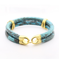Luxury Blue Python Leather Charm Bracelet Men Women Cool Wristband 316L Titanium Steel Northskull Real Snake