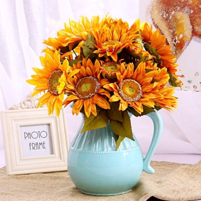 Creative Home Decoration European Oil Painting Autumn Sunflower Artificial Flower Fake Arrangement
