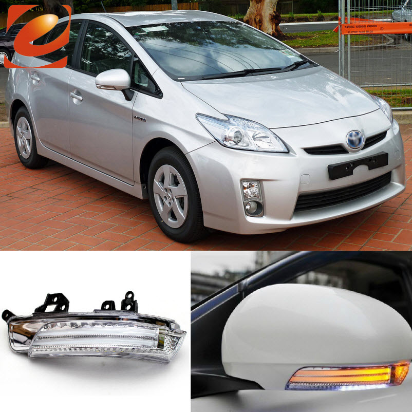 eeMrke For Toyota Prius ZVW30 2009-2015 Side Rear View Mirror Lights LED DRL Turn Signals Irradiated Ground Lights eemrke for toyota voxy 2007 2008 2009 2010 2011 2012 2013 side rear view mirror lights led drl turn signals