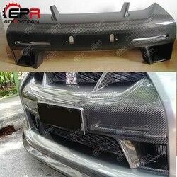 Dla Nissan R35 GTR CBA 2008-2011 WALD styl z włókna węglowego przedni zderzak nos pokrywa błyszczące wykończenie WA Drift Racing kratka wykończeniowa grilla część
