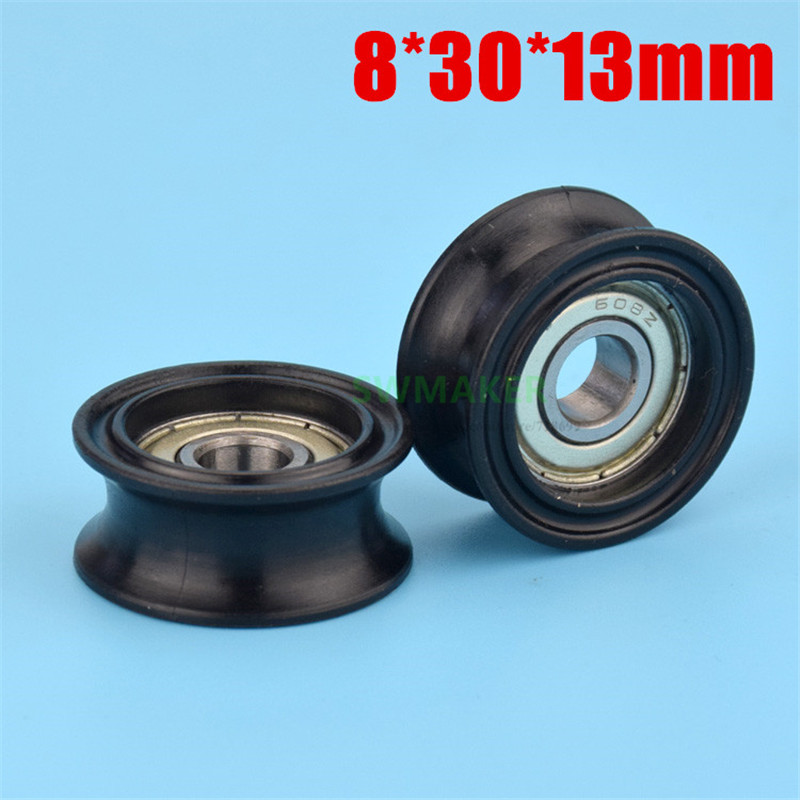 10pcs 8*30*13mm Groove U Type 608 Package Plastic Bearing Pulley, POM, Elevator 12mm Track Wheel