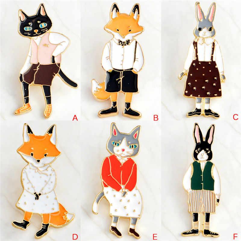 И броши кролик/лиса/кошка пара эмалированные значки на булавке шляпа рюкзак аксессуары ювелирный подарок для возлюбленных для влюбленных