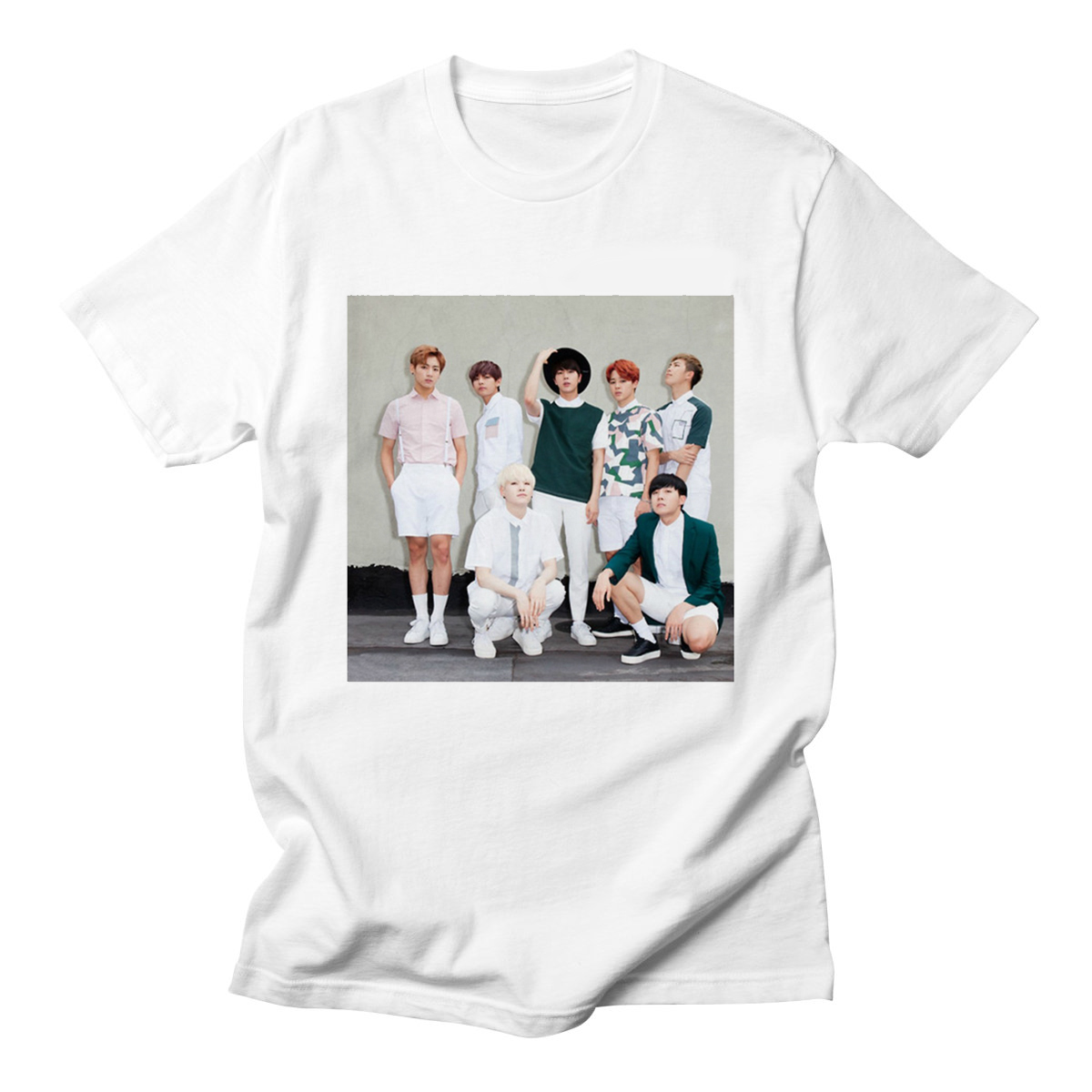 Summer Cotton Kpop   T     Shirt   Bangtan Boys Rap Monster   T  -  Shirts   Women Short Sleeve Funny Rock K-pop Clothes Short Sleeve Women