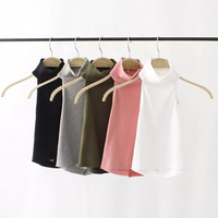2017 New Women Summer Tight Cotton Elastic Crop Tops short Sleeveless Vest Lady Sexy Stretchable Cropped Condole