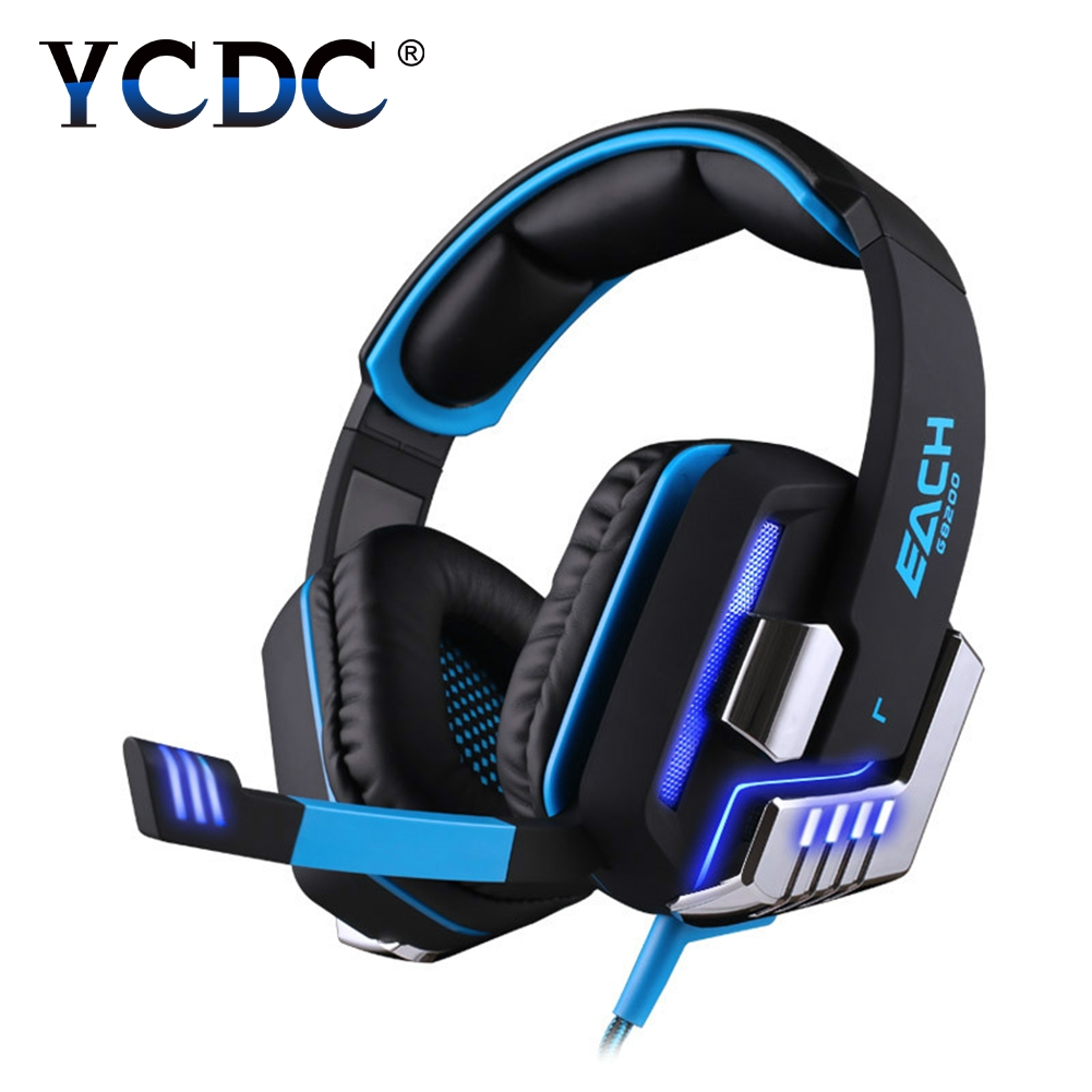 YCDC EACH G8200 7.1 Surround Micro USB Interface 50mm Driver Unit Vibration Gaming Headphones with Mic LED Light for PC Gamer each g8200 gaming headphone 7 1 surround usb vibration game headset with mic led light headband earphone for pc gamer laptop