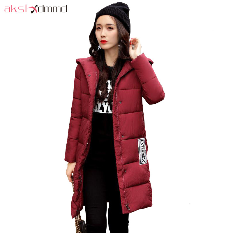AKSLXDMMD   Parka   Mujer Casual Plus Size Winter Coat 2019 New Fashion Printed Letters Hooded Mid-long Jacket Cotton Coats LH1207