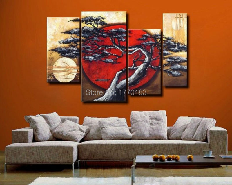 Handmade Abstract Tree landscape Painting Oil 4 Piece