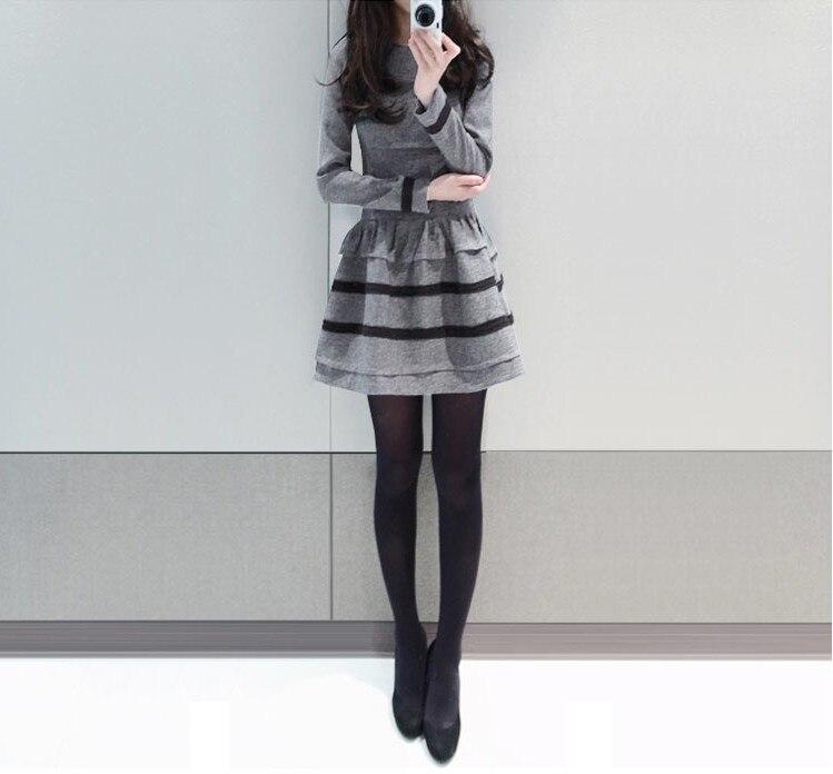 2019 NEW Girls Casual Sexy Dress Autumn Winter Soft Long Sleeve Dress Lady Office Working Clothing Black Grey  SizeXL #E284