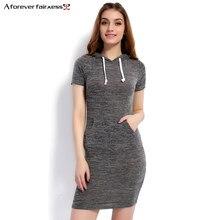 a7dceca780077 Bir Sonsuza 2018 Yaz Kadın Elbise Vestido Hoodies Rahat Gri Elbiseler  Kadınlar Için Kısa Kollu Ince Kazak Elbise Elbise AFF1104