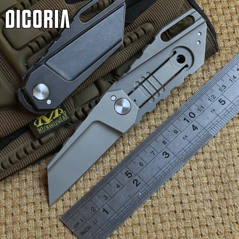 DICORIA Yoda ball bearing M390 folding knife titanium handle tactical camping hunting outdoor suvival pocket knives EDC tools high quality army survival knife high hardness wilderness knives essential self defense camping knife hunting outdoor tools edc