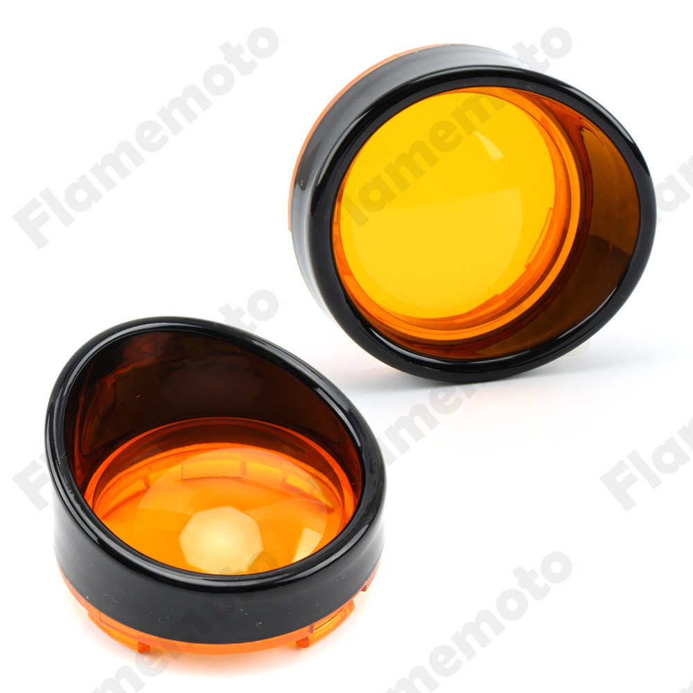Motorcycle 2Pcs Gloss Black Smoke Amber Red Turn Signal Light Visor Lenses Bezel For Harley Dyna Sportster 1200 883 UNDEFINED 2 x chrome motorcycle bullet amber turn signal light indicator fits for harley sportster iron 883 1200 xl bobber chopped 883n page 4