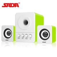 Original SADA Mini Portable Speaker USB2 1 3 5mm Audio Interface Stereo Subwoofer Audio Speakers For