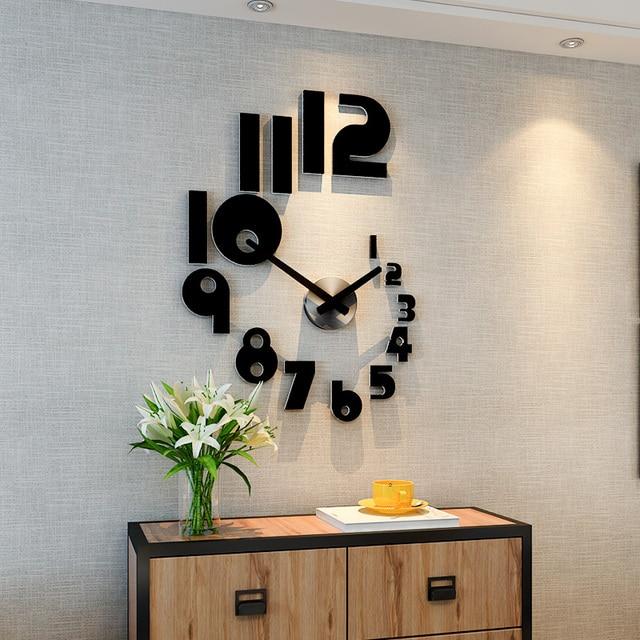 2019 New DIY Large Wall Clock Modern Design Silent Quartz Watch Sticker 3d Living Room Home Decor Acrylic Horloge Free Shipping