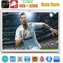 10 pulgadas tablet pc Octa Core 3G WCDMA Android 5.1 4 GB RAM 32 GB ROM IPS GPS wifi 5.0MP 10.1 MEDIADOS Phablet DHL envío