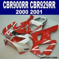 Литья под давлением обтекателя комплект для Honda CBR900RR 929RR Модель 2000 2001 CBR929 00 01 белый красный ABS обтекатели комплект ZX13