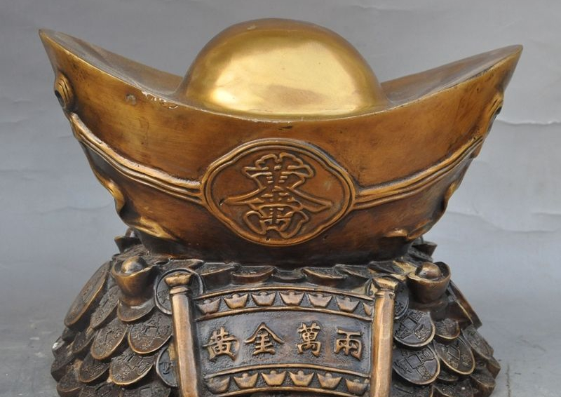 "10"" china bronze copper wealth lucky coin yuanbao Bullions Gold ingot Art statue"