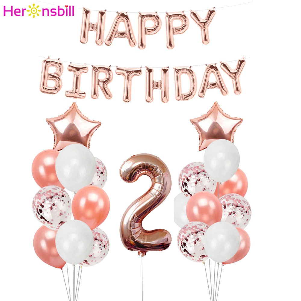 Heronsbill 2 Years Old Balloons Kits 2nd Birthday Party Decorations Boy Girl I Am Two Paper Banner Supplies Bunting Garland