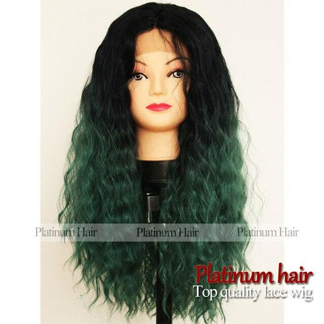 Ombre Noir Vert Couleur Cheveux Bouclés Perruque Résistant à La