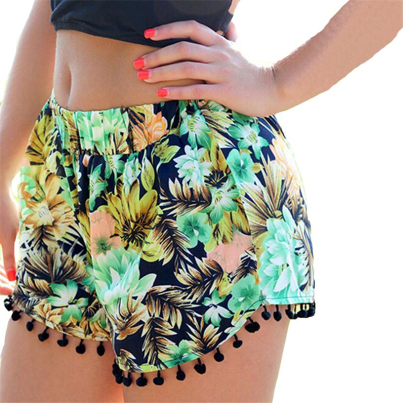 Novelty   Shorts   Women Beach Tassel Bohemian Woman National Pattern Feminino Wind Print Trousers Loose Cotton Plus Size   Short   D018