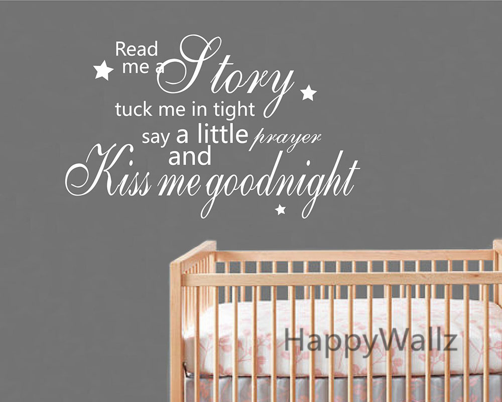 Us 10 44 5 Off Kiss Me Goodnight Quote Wall Sticker Baby Nursery Children Decal Kids Room Diy S Wallpaper Q152 In