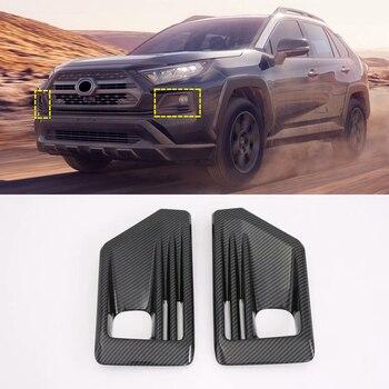 (Ajuste rastro deporte y deporte de aventura) ABS accesorios del coche luz antiniebla delantera cubierta de la lámpara Trim 2 piezas para Toyota RAV4 XA50 2019 +