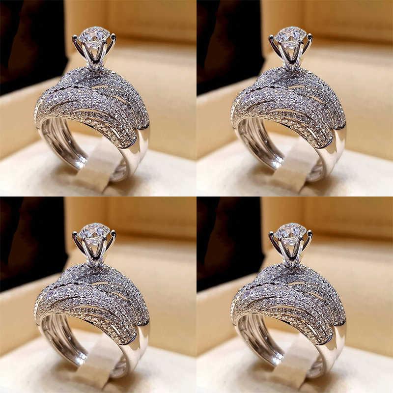 銀色 2 ピース/ロットトレンディ高品質人気 Crystral ホット販売 2020 新ファッションジュエリーサイズ 5-12 女性