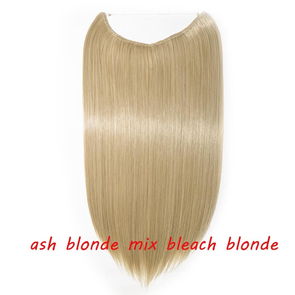 S-noilite 20 дюймов невидимый провод без заколки для волос Расширения секретная Рыбная линия шиньоны шелковистые прямые настоящие натуральные синтетические - Цвет: 24 mix 613