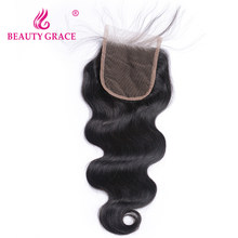 Beauty Grace Brazilian Body Wave Lace Closure With Baby Hair 4x4 Remy 100% Human Hair Free Part Top Closures(China)