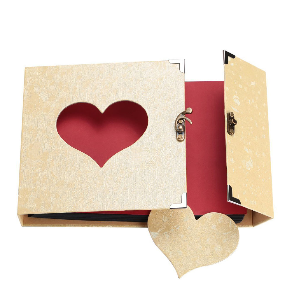 10 Inch Love Heart Hollow Out Design DIY <font><b>Scrapbook</b></font> <font><b>Album</b></font> 30 Black Pages Gift Box HUG-Deals image