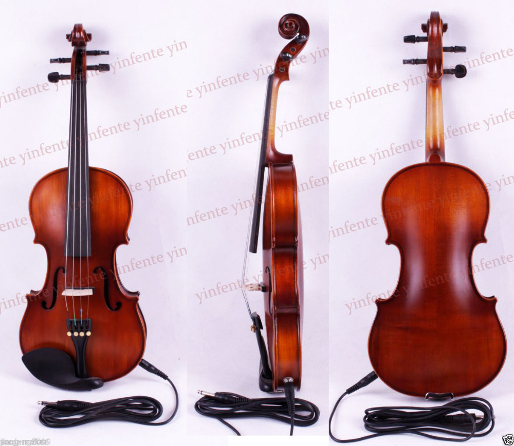 4/4 Electric Violin Acoustic Solid wood Silent Free case rosin #Y2 one red 4 string 4 4 violin electric violin acoustic violin maple wood spruce wood big jack color