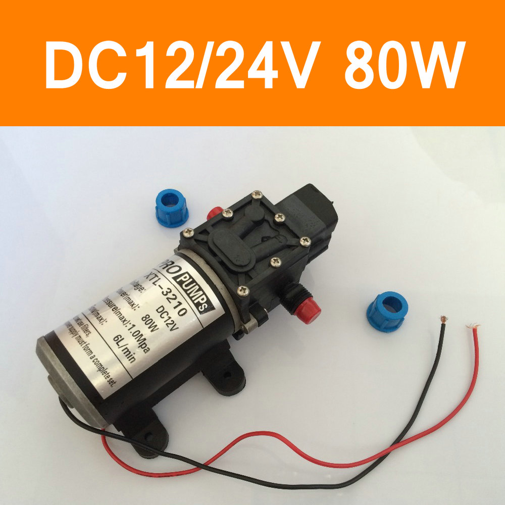Mini Electric Water Pump DC12V 24V 80W High Pressure Micro Diaphragm Water Pump Automatic Switch 6L/min Heavy Duty 3210 DC Motor dc 12v 80w high pressure diaphragm water pump electric water pump for boat caravan marine motor water pumps