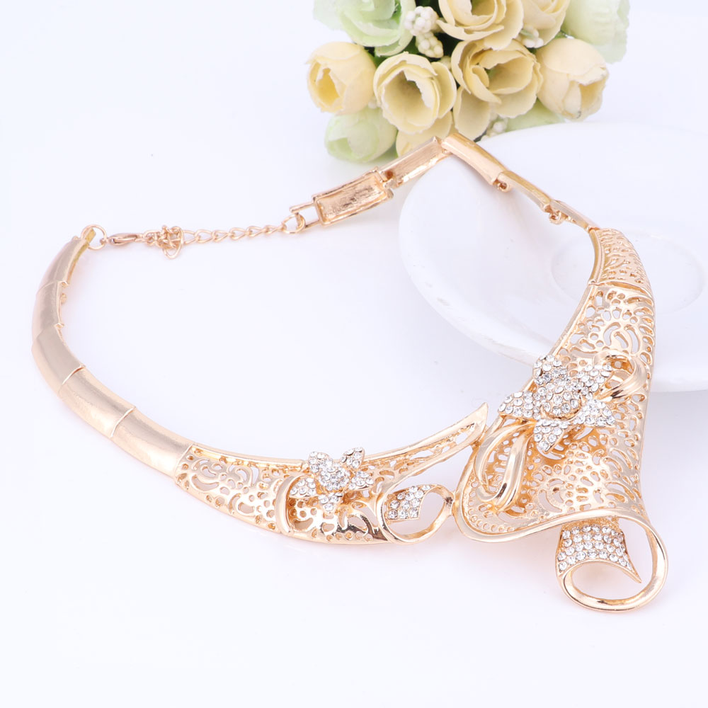 Heißer verkauf dubai kristall strass blume halskette sets gold farbe - Modeschmuck - Foto 3