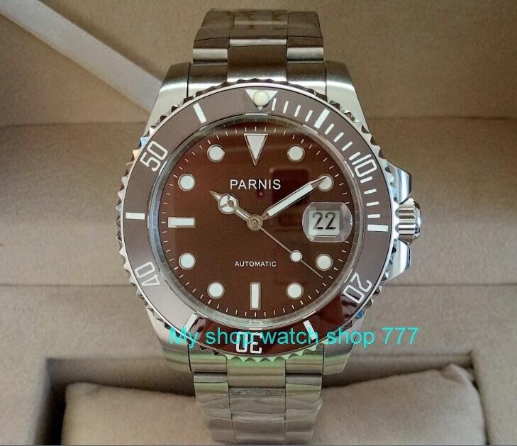 b60f7bbaeb3 40mm parnis safira gmt relógio dos homens movimento automático de máquinas  de café de cristal japonês
