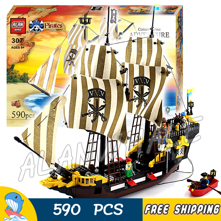 590pcs Movie Series Pirates of the Caribbean Ship 307 Assemble Model Building Blocks Adventure Bricks Toys Compatible With lego 1717pcs new 22001 pirates of the caribbean imperial flagship diy model building blocks big toys compatible with lego