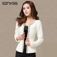 High Quality Brand Women Short Jacket Cardigans Plus Size O Neck Long Sleeve Pearl Beading Brooch