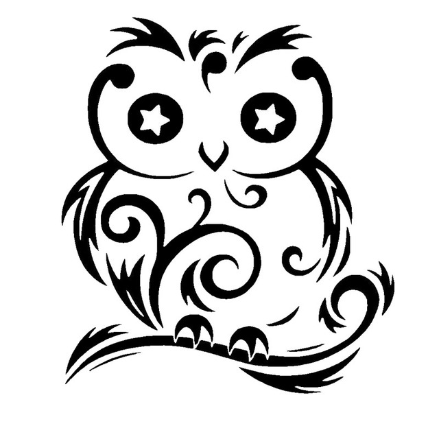 15 17 Cm Burung Hantu Lucu Dekorasi Mobil Stiker Decals Mobil Styling Aksesoris Kreatif Stiker Perak Hitam C4 0328 Sticker Clock Sticker Paper For Printingstickers Rock Aliexpress